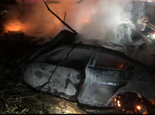 A high speed vehicle crash in Navarre ignited a blaze early Monday morning that destroyed two RVs, the car itself and two boats. The fire also damaged two other RVs. Holley-Navarre Fire District and Navarre Beach Fire Rescue put out the blaze.