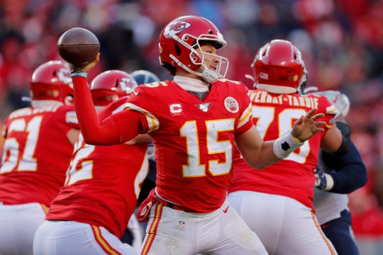 Kansas City Chiefs' Patrick Mahomes throws during the second half of the NFL AFC Championship football game against the Tennessee Titans Sunday, Jan. 19, 2020, in Kansas City, MO. (AP Photo/Jeff Roberson)