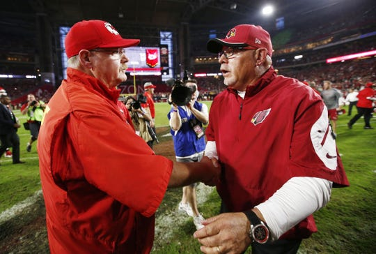 Arizona's Bruce Arians shakes hands with Kansas City's Andy Reid after the Chiefs lost 17-14 to the Cardinals on Sunday, Dec. 7, 2014 at University of Phoenix Stadium in Glendale, AZ.