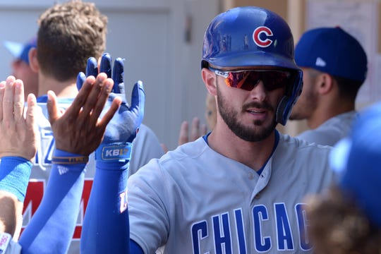 Chicago Cubs third baseman Kris Bryant (17) has been linked to the Arizona Diamondbacks in MLB trade rumors and speculation.