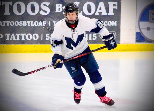 Marysville's Noah Lavalley skates during the Macomb Area Conference Hockey Showcase on Monday, Jan. 20, 2020, at Mt. Clemens Ice Arena