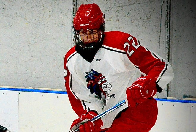 Port Huron Unified's Charlie Gudme fights for possession of the puck during the Macomb Area Conference Hockey Showcase on Monday, Jan. 20, 2020, at Mt. Clemens Ice Arena