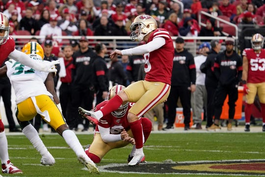 San Francisco 49ers kicker Robbie Gould, seen here booting a field goal in Sunday's NFC Championship game, is a Central Mountain High School graduate. He kicked a game-winning field goal for Pennsylvania in the 2001 Big 33 Football Classic.