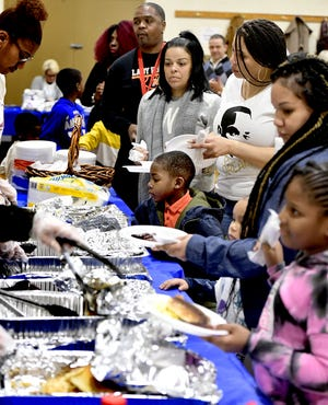 Breakfast was served during the 38th Annual MLK Day of Service event at the Crispus Attucks gymnasium Monday, January 20, 2020. Volunteers staffed about a dozen city locations after the breakfast. Bill Kalina photo