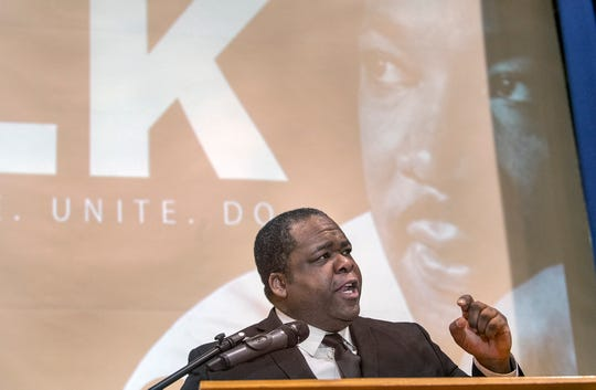 """Calvin Weary gives the """"I Have A Dream"""" speech during the MLK Day of Service Program at Crispus Attucks in York. The theme of the 2020 event was """"Bringing His Vision to Life through the Eyes of Youth."""" It started with a program and community breakfast, followed by volunteering for service projects."""