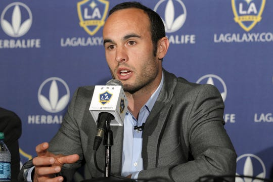 Los Angeles Galaxy forward Landon Donovan speaks at news conference in 2013, in Carson, Calif.