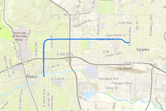 A map of the traffic corridor that will be improved as part of the Oddie Wells Project.