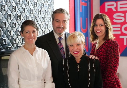 Dixon Schwabl's current leadership and future leaders. From left, Managing Partner of Account Services and incoming President Jessica Savage, current President Mike Schwabl, current CEO Lauren Dixon, and Managing Partner of Communications and incoming CEO Kim Allen.