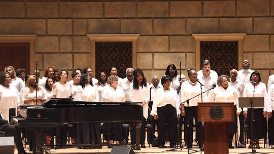 MLK Community Choir sang to kick off the start of the MLK Day Community Celebration at Kodak Hall at Eastman Theatre.