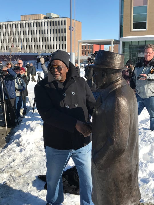 Sculptor Porter Williams  shows the statue of Martin Luther King Jr. that he made. The statue was unveiled at Van Eps Park on Jan. 20, 2020, nearly 60 years after King visited Sioux Falls.
