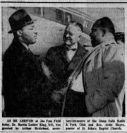 A picture of Martin Luther King Jr. in the Argus Leader after he arrived at Joe Foss Field on Jan 12, 1961. King spoke that night in Sioux Falls.