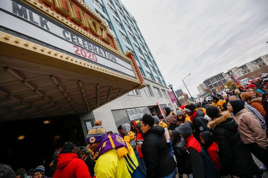 Hundreds of people file into the Gillioz Theatre after the Martin Luther King Jr. Day March in Springfield on Monday, Jan. 20, 2020.