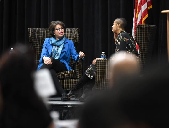 Keynote speaker Valerie Jarrett talks with St. Cloud Technical and Community College President Annesa Cheek Monday, Jan. 20, 2020, during the Martin Luther King Jr. Breakfast and Day of Service program at the River's Edge Convention Center in St. Cloud.