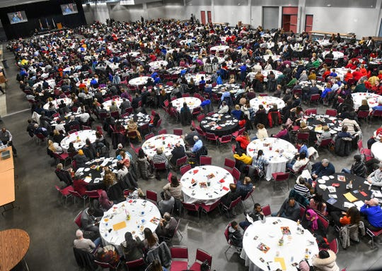 About 1,600 people listen to the keynote address Monday, Jan. 20, 2020, during the Martin Luther King Jr. Breakfast and Day of Service program at the River's Edge Convention Center in St. Cloud.