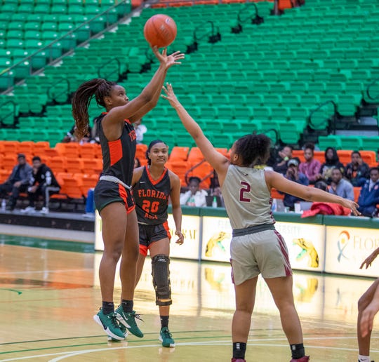 FAMU junior guard Kailya Jackson had a game-high 21 points in the 71-70 loss in overtime versus North Carolina Central on Monday, Jan. 20, 2020.