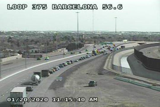 Traffic is diverted Monday, Jan. 20, 2020, at Barcelona Drive after a crash on Loop 375 near Fonseca Drive.