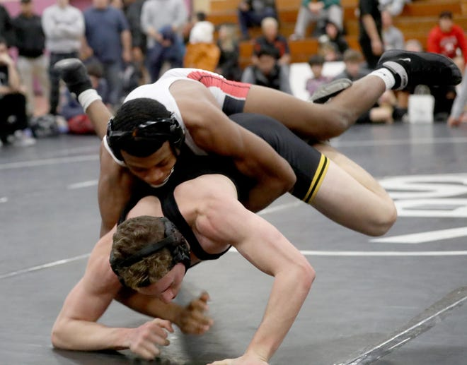 Quincy Downes of Fox Lane pinned Nicolas DeSantis of Lakeland/Panas to win the 170 pounds championship at the Westchester County Wrestling Championships at Lincoln High School in Yonkers Jan. 19, 2020.