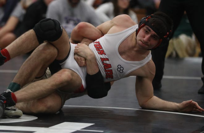 Fox Lane's Thomas Prisco, pictured here during the Westchester County Wrestling Championships on Jan. 19, 2020,