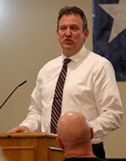 Mark Neese speaks about their experience, beliefs and what they plan to do if elected into the 13th Congressional District seat Monday, Jan. 20, 2020, at the Wichita County Republican Women's monthly meeting at Luby's.