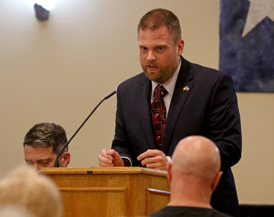 Jason Foglesong speaks about their experience, beliefs and what they plan to do if elected into the 13th Congressional District seat Monday, Jan. 20, 2020, at the Wichita County Republican Women's monthly meeting at Luby's.