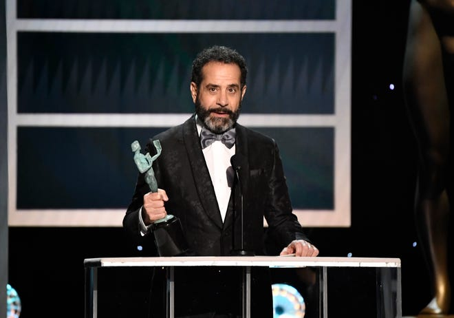 "Tony Shalhoub accepts the Screen Actors Guild Award for outstanding performance by a male actor in a comedy series Sunday night for his role as Abe Weissman in ""The Marvelous Mrs. Maisel."""