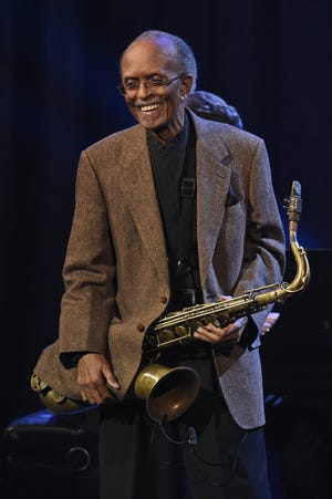 Jimmy Heath performs during Jazz at Lincoln Center's 30th anniversary gala on April 18, 2018, in New York.