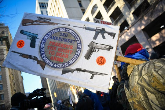 Gun rights advocates protested in Virginia earlier this year before the state legislature passed new gun control measures.