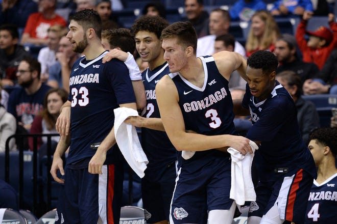 Gonzaga players react from the bench during the second half of the team's game against San Diego at Jenny Craig Pavilion.