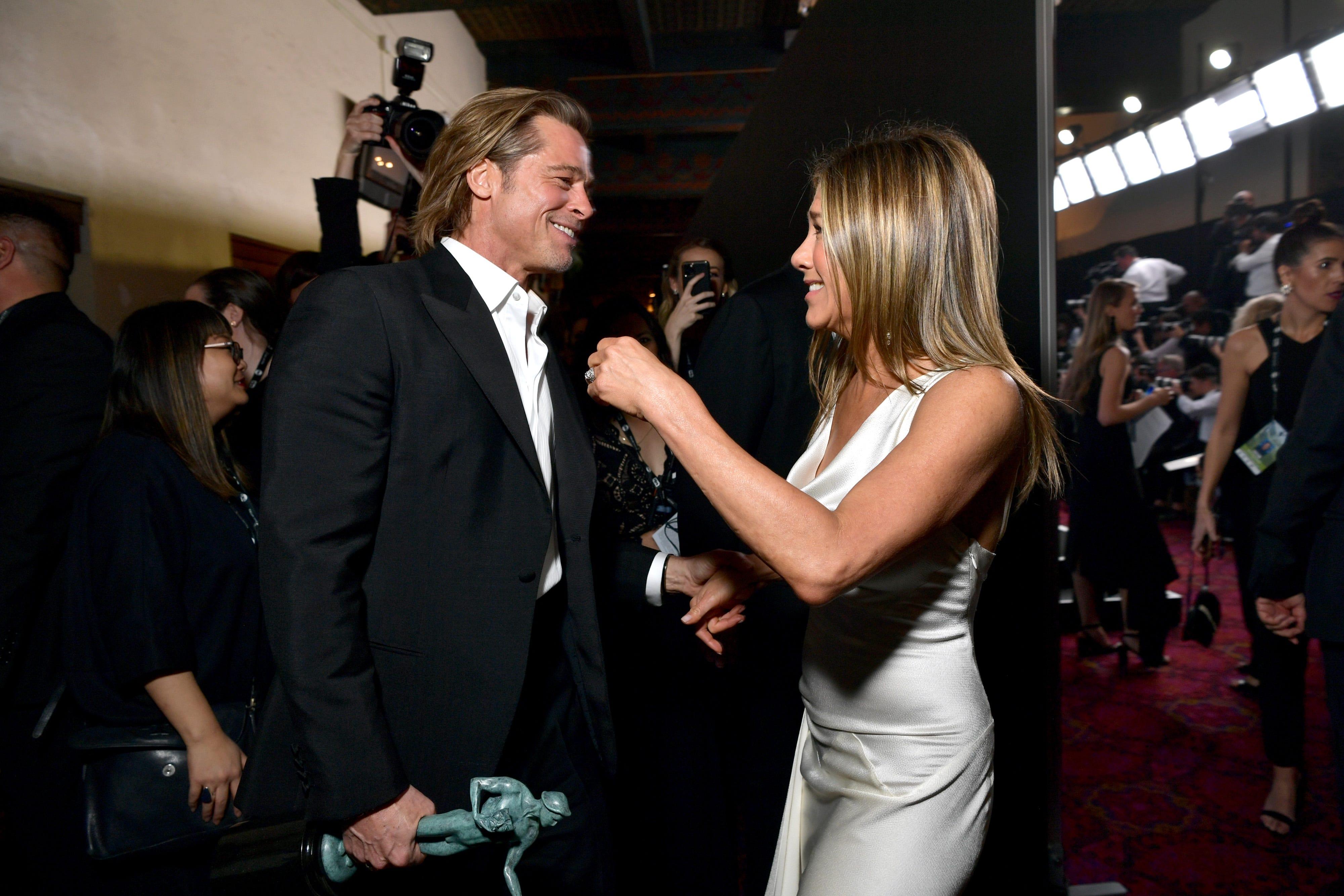 Jennifer Aniston, Brad Pitt photographed celebrating SAG Award wins backstage
