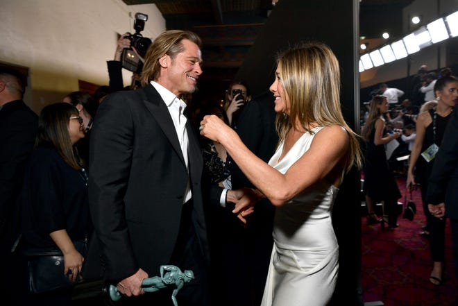 Brad Pitt and Jennifer Aniston attend the 26th Annual Screen Actors Guild Awards at The Shrine Auditorium on January 19, 2020 in Los Angeles, California.