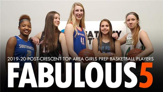 Fab 5 girls basketball team: Green Bay Southwest's Jaddan Simmons, Hortonville's Macy McGlone, Appleton West's Taylor Lauterbach, Bay Port's Emma Nagel and Green Bay Preble's Kendall Renard