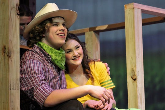 """Curly McLain (Jordan Mathis ) sings about a """"Surrey With a Fringe on Top"""" while cradling Laurey Williams (Kira Tanner) in this rehearsal scene Monday from """"Oklahoma!"""", the Abilene High School winter musical that."""