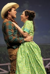 """Will Parker (Brent Bardin) and Ado Annie (Madi Sipe) embrace after his return in this rehearsal scene Monday from """"Oklahoma!"""", Abilene High School's winter musical."""