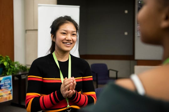 Lakeview sophomore Lucy Par speaks in a concentric circle exercise during Battle Creek's Coalition for Truth, Racial Healing and Transformation Youth Summit on Tuesday, Jan. 21, 2020 at W.K. Kellogg Foundation in Battle Creek, Mich. The Youth Summit takes place on the National Day of Racial Healing.
