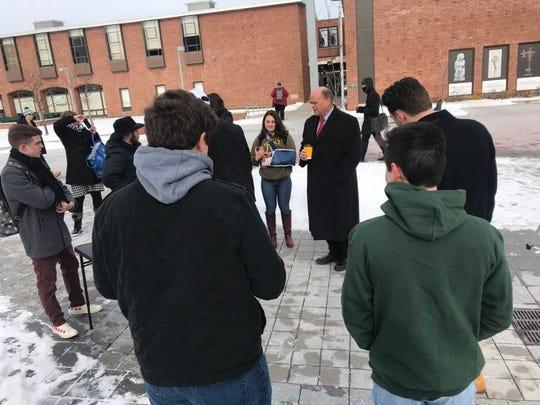 U.S. Congressman Tom Reed speaks to students at Binghamton University on Tuesday, Jan. 21.