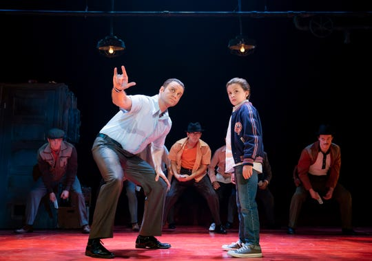 """Jeff Brooks performs as Sonny alongside Trey Murphy, as Young Calogero, in the North American tour of """"A Bronx Tale."""""""