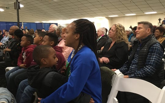 Cierra Browne reacts to the keynote speaker at the 26th annual Martin Luther King Jr. celebration at Kitsap County Fairgrounds on Jan. 20. 2020. Browne, who recently moved to Kitsap and serves on the USS Carl Vinson, brought her three sons and nephew to the event.