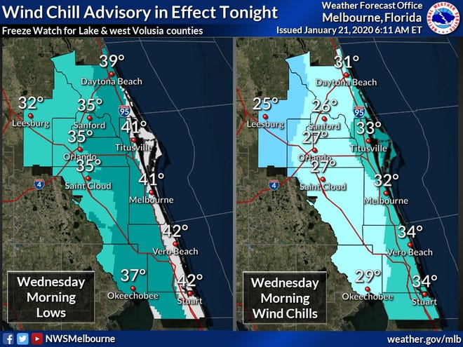 Wind chills are expected to be in the low 30s across Brevard County Wednesday morning.