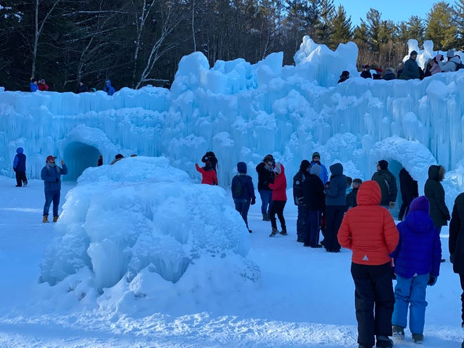 Entering into the ice castle in North Woodstock, NH.