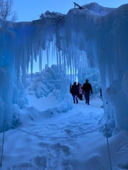A view through the icicles in the New Hampshire ice castle in North Woodstock.