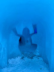Yeti was here. This is one of many entrances into ice tunnels in the ice castle structure in North Woodstock, NH.
