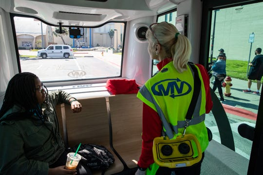 A student rides the Corpus Christi Regional Transportation Authority's free SURGE Autonomous Shuttle on the first day of service at Texas A&M University-Corpus Christi on Tuesday, Jan. 21, 2020.