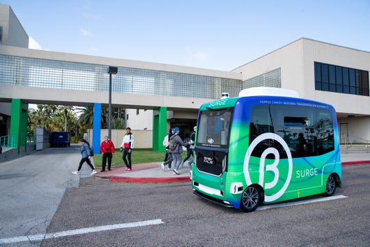 The Corpus Christi Regional Transportation Authority started its free SURGE Autonomous Shuttle at  Texas A&M University-Corpus Christi on Tuesday, Jan. 21, 2020.