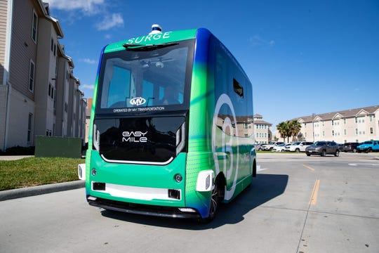 The Corpus Christi Regional Transportation Authority's  SURGE Autonomous Shuttle travels around campus at Texas A&M University-Corpus Christi on Tuesday, Jan. 21, 2020.
