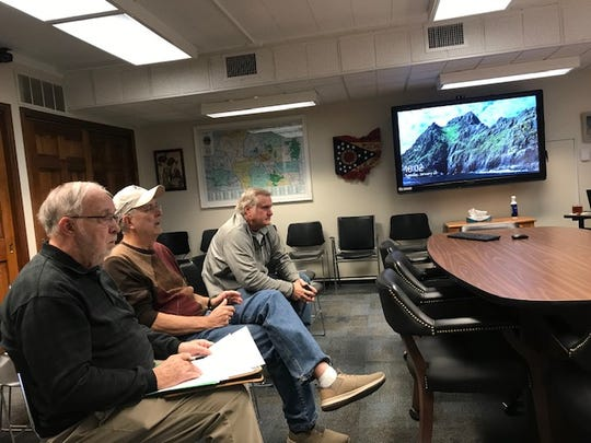Twin Township Fiscal Officer Bill Jones, Twin Township Trustee Mike Darbyshire, and County Engineer Charles Ortman meet with Ross County Commissioners to discuss road resurfacing project on Jan. 21, 2020.