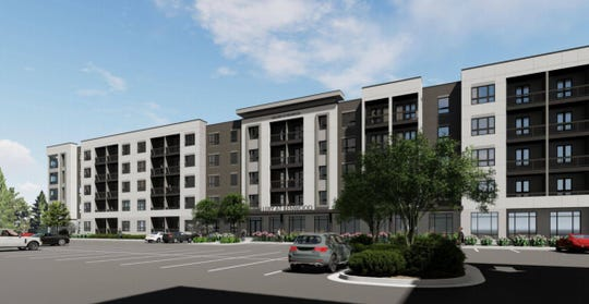 The project will include a six-story, 130-room hotel; a five-story, 115,000-square-foot office building; two restaurants and 248 luxury apartments.