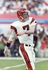 Jan 22, 1989; Miami, FL, USA; FILE PHOTO; Cincinnati Bengals quarterback Boomer Esiason (7) on the field against the San Francisco 49ers during Super Bowl XXIII at Joe Robbie Stadium. The 49ers defeated the Bengals 20-16. Mandatory Credit: Darr Beiser-USA TODAY Sports