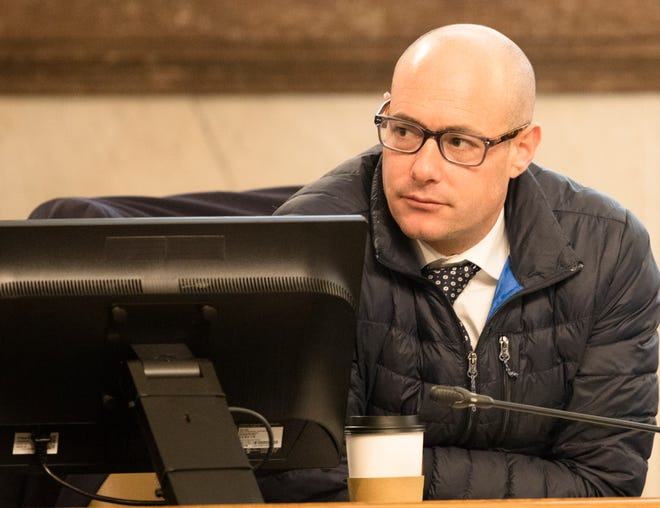 Cincinnati City Council member Greg Landsman looks on during at a City Council Budget and Finance meeting on Tuesday, Jan. 21, 2020, at City Hall in downtown Cincinnati.
