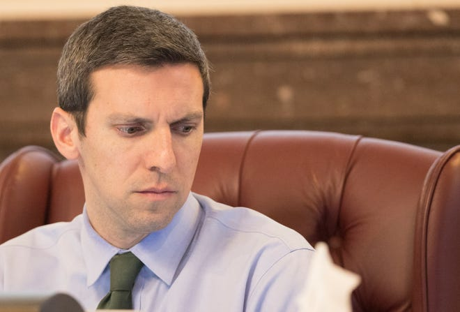 Cincinnati City Councilmember P.G. Sittenfeld at a Budget and Finance meeting in January 2020 at City Hall.