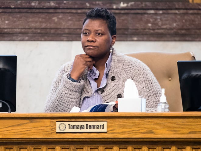 Cincinnati City Council President Pro Tem Tamaya Dennard  looks on during at a City Council Budget and Finance meeting on Tuesday, Jan. 21, 2020, at City Hall in downtown Cincinnati.